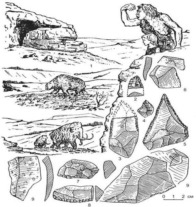 1 — неандертальська людина, її печерне сховище та промислові тварини (печерний ведмідь і мамонт); Креміневі знаряддя з мустьєрських стоянок (2–5 — гостроконечники; 7, 8 — скребла; 6, 9 — відщепи)