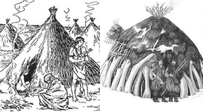 Реконструкція житла первісної людини різних періодів палеоліту
