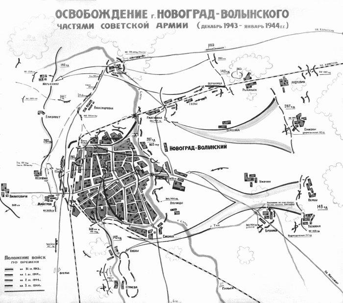 Схема розташування військ під час визволення Новограда-Волинського від німецько-фашистських загарбників