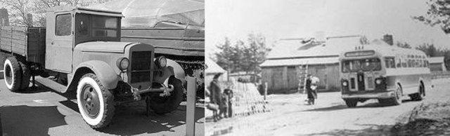Транспорт 1950-х років (вантажівка ЗіС-5 і автобус ЗіС-155)