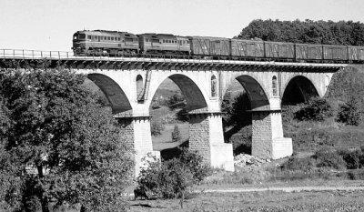 Вантажний потяг на Новоград-Волинському мосту
