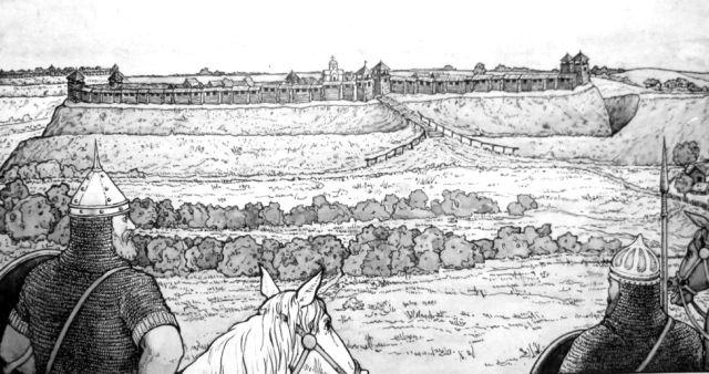 Реконструкція ймовірного вигляду південного городища літописного Возвягля. Автор П.О.Улько