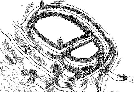 Реконструкція ймовірного вигляду північного городища літописного Возвягля (автор М.І.Довганич)