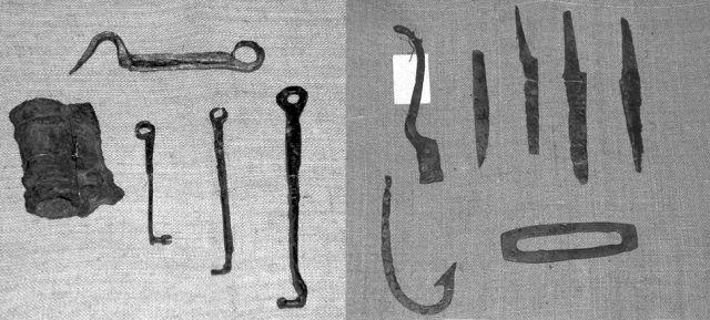 Замки та ключі, фрагменти знарядь праці з розкопок Південного городища