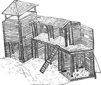 Реконструкція фрагменту стіни Звягельського городища (автор В.Ю.Непомнящих)