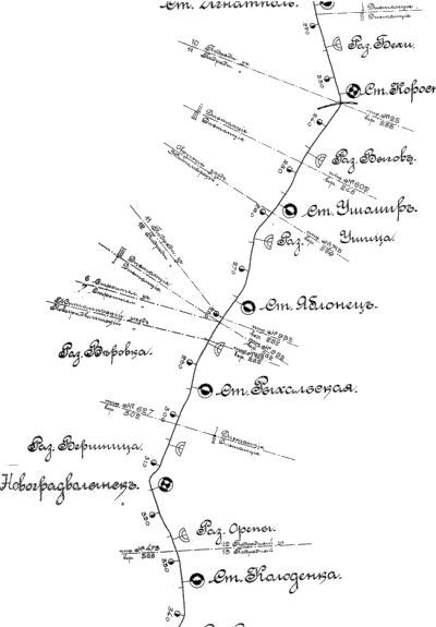 Фрагмент схеми залізниці Старокостянтинів – Жлобин із зазначенням Новоград-Волинської станції