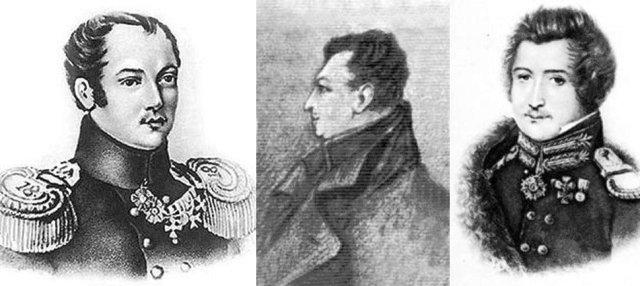Пестель Павло Іванович (1793–1826), Бєстужев-Рюмін Михайло Павлович (1801–1826), Муравйов-Апостол Сергій Іванович (1796–1826)