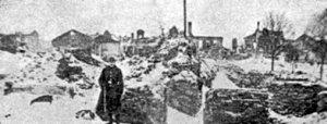 Шкільна вулиця після пожежі 1919 р. (з меморіальної книги «Звіл»)