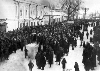 Траурний мітинг у Новограді-Волинському з нагоди смерті В.І.Леніна. Фото 1924 року