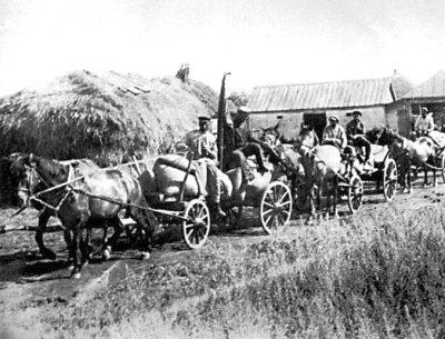 Обоз зі збіжжям, реквізованим у селі